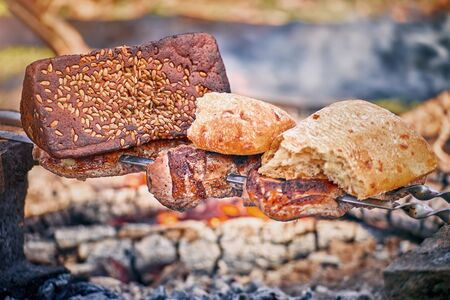 Cooking tasty meat on an open fire in nature. Stock Photo