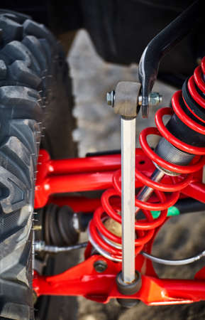 Elements of the suspension on an all-wheel drive ATV. Stock Photo