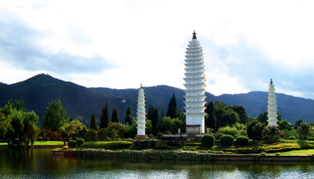 kunming: Three pagodas captured in Kunming,Yunnan,China. Stock Photo
