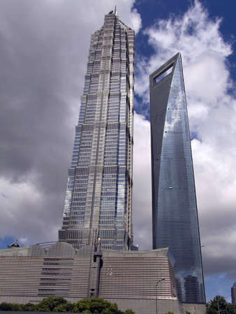 pudong: Two skyscrapers in Shanghai,The Jin Mao Tower on the left and Shanghai World Financial Center on the right.