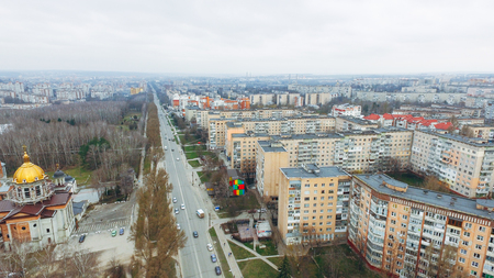 Aerial view of city road and moving cars and park from a birds eye view. Ukraine Banco de Imagens
