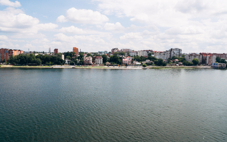 Aerial View of beautiful green city, the embankment and the blue lake . Ternopil. Ukraine Stock fotó