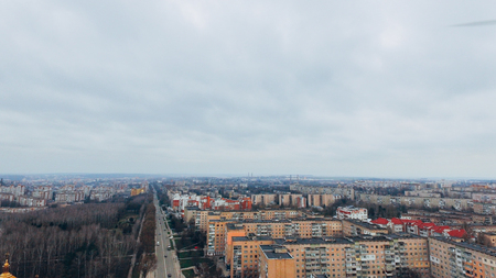 Aerial view of city, road and park from a birds eye view. Ukraine Ternopil