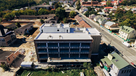 Aerial view of the building under construction in the city. Ukraine Stock fotó