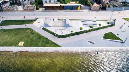 Aerial view of the on the city embankment and recreation area Banco de Imagens