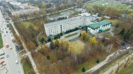 Aerial view of the city hospital in the square in early spring Stock fotó