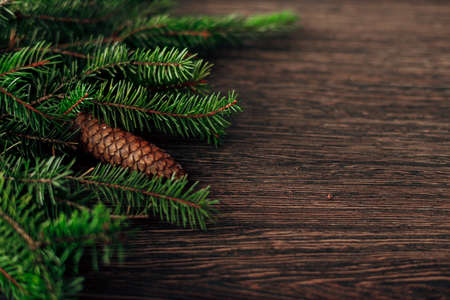 Decoration of Christmas Tree Branches on a Brown Background with CopySpace