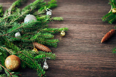 Christmas Tree Branches on a Brown Background with CopySpace for Text Zdjęcie Seryjne