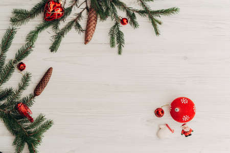 Christmas Decorations on a White Wooden Table with Copy Space Zdjęcie Seryjne