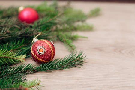 Christmas Tree Branches and on a Wooden Background with Copy Space Zdjęcie Seryjne