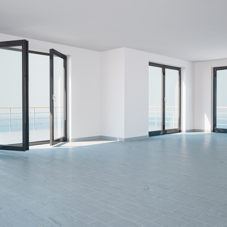 Bright empty room with large windows and balcony - computer generated image photo