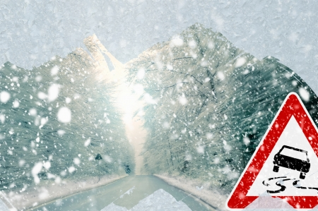 precipitation: Winter driving - caution Stock Photo