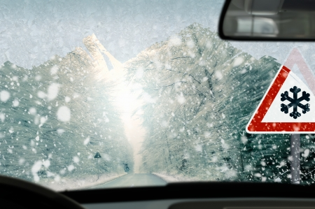 Winter driving - caution photo