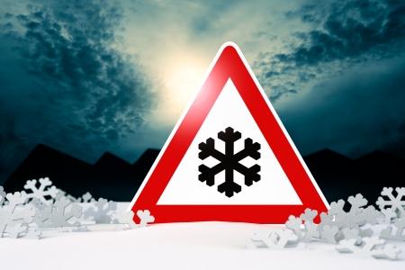 night driving in winter - warning sign; night driving in winter - warning sign  risk of snow and ice