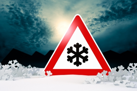 night driving in winter - warning sign; night driving in winter - warning sign  risk of snow and ice