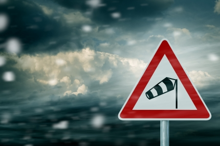 windsock: stormy weather - storm clouds with warning sign