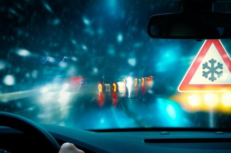 strobe: winter driving Stock Photo
