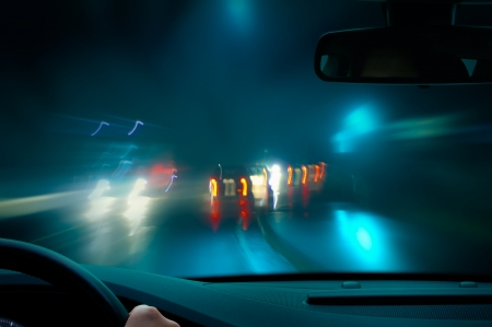 traffic lights: bad weather driving - night driving - caution