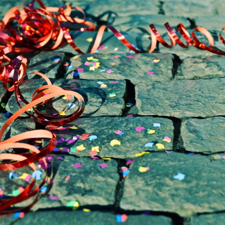 Celebration - streamer on the ground - symbol for celebration and party photo