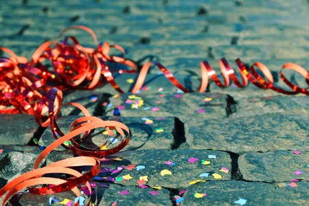 Celebration - streamer on the ground - symbol for celebration and party