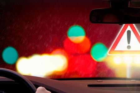 night driving - nightlife - Caution - rain photo