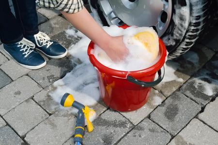 car polish: washing a car by hand