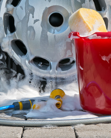 wash cloth: car cleaning Stock Photo