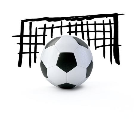 3D-Soccer ball in front of a soccer goal photo
