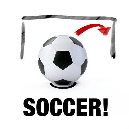 soccer goal: 3D - Soccer ball and soccer goal Stock Photo