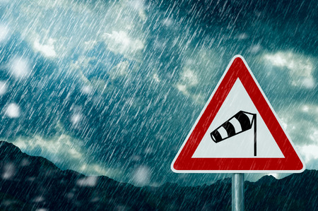 bad weather - caution - warning sign