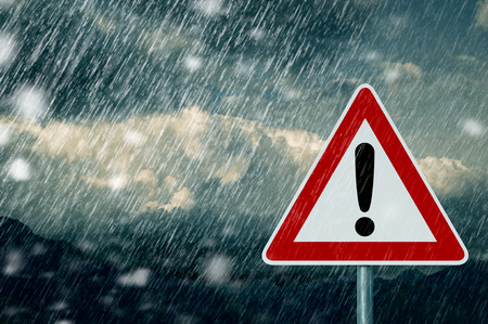 warning signs: bad weather - caution - warning sign