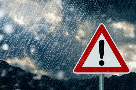 bad weather: bad weather - caution - warning sign