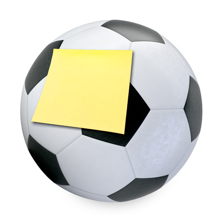 3D Soccer ball and sticky note isolated on white background photo