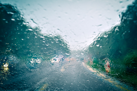 road conditions: Bad weather driving Stock Photo