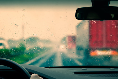 Bad weather driving on an expressway