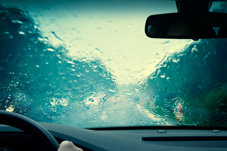 autumn road: Bad weather driving