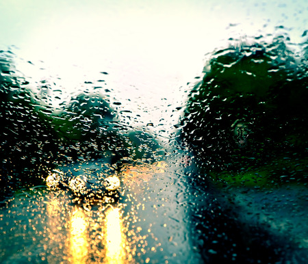 Bad weather driving on a highway Foto de archivo