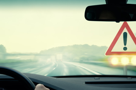 hydroplaning: Bad Weather Driving - Caution Stock Photo