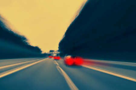 Overtaking - Long exposure shot, captured when driving and overtaking - strong motion blur.