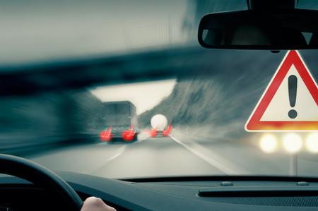 overtaking: Dangerous Driving - Caution - Trucks Overtaking Each Other