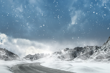 mountain: Winter Driving - Winter Road - Computer generated image Stock Photo