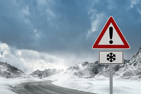 warning signs: Winter Driving - Winter Road - Computer generated image Stock Photo
