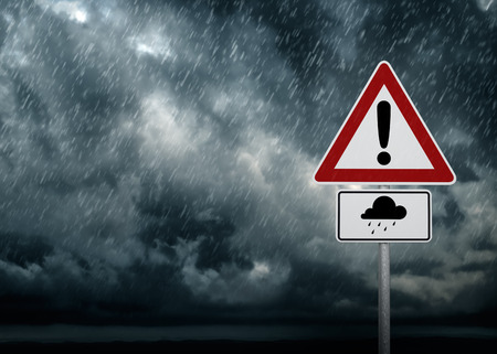 warning signs: Caution - Heavy Rain Stock Photo