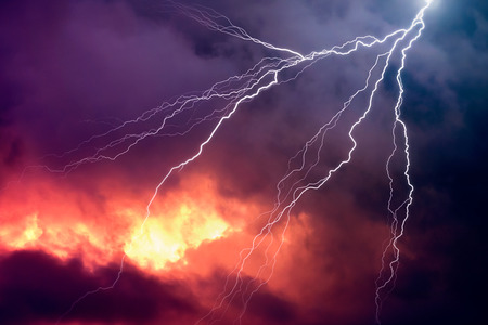 lightning strike: Lightning in front of a dramatic background - computer generated image Stock Photo