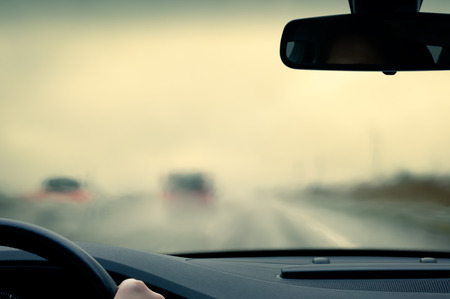 car safety: Driving poor view