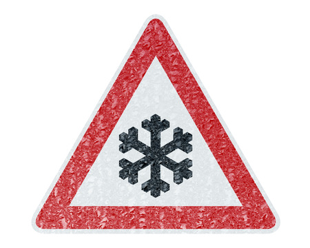 winter car: Winter Driving - Ice Covered Warning Sign - Caution Snow