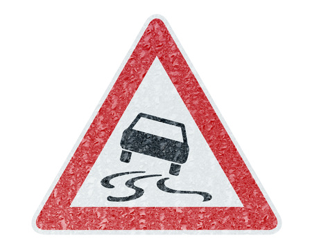 icy: Winter Driving - Ice Covered Warning Sign - Caution sleekness