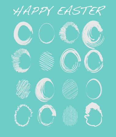 Happy Easter - Set of Sketched Easter Eggs