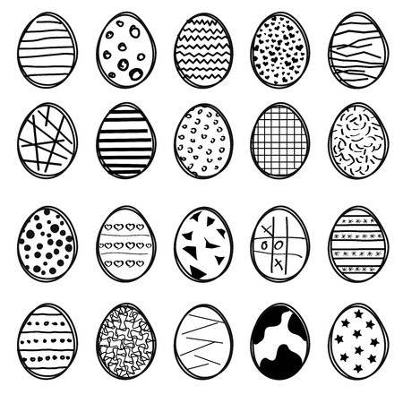 sketched: Vector set of 16 sketched easter eggs Illustration