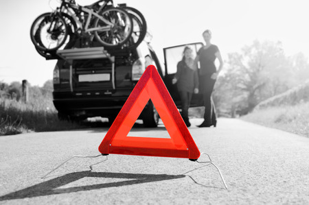 car trouble: Car Trouble - family is happy about arriving road assistance